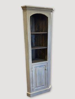 Nana's Farmhouse Corner Cabinet in Buttermilk