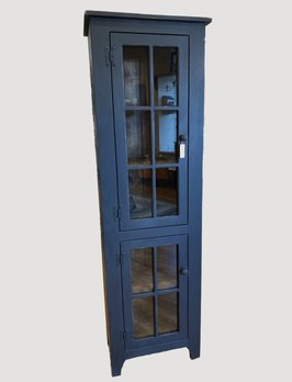 Nana's Farmhouse Black Pantry Cabinet with Glass Doors
