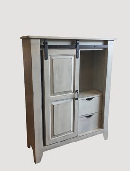 Nana's Farmhouse Buttermilk Rolling Door Cabinet
