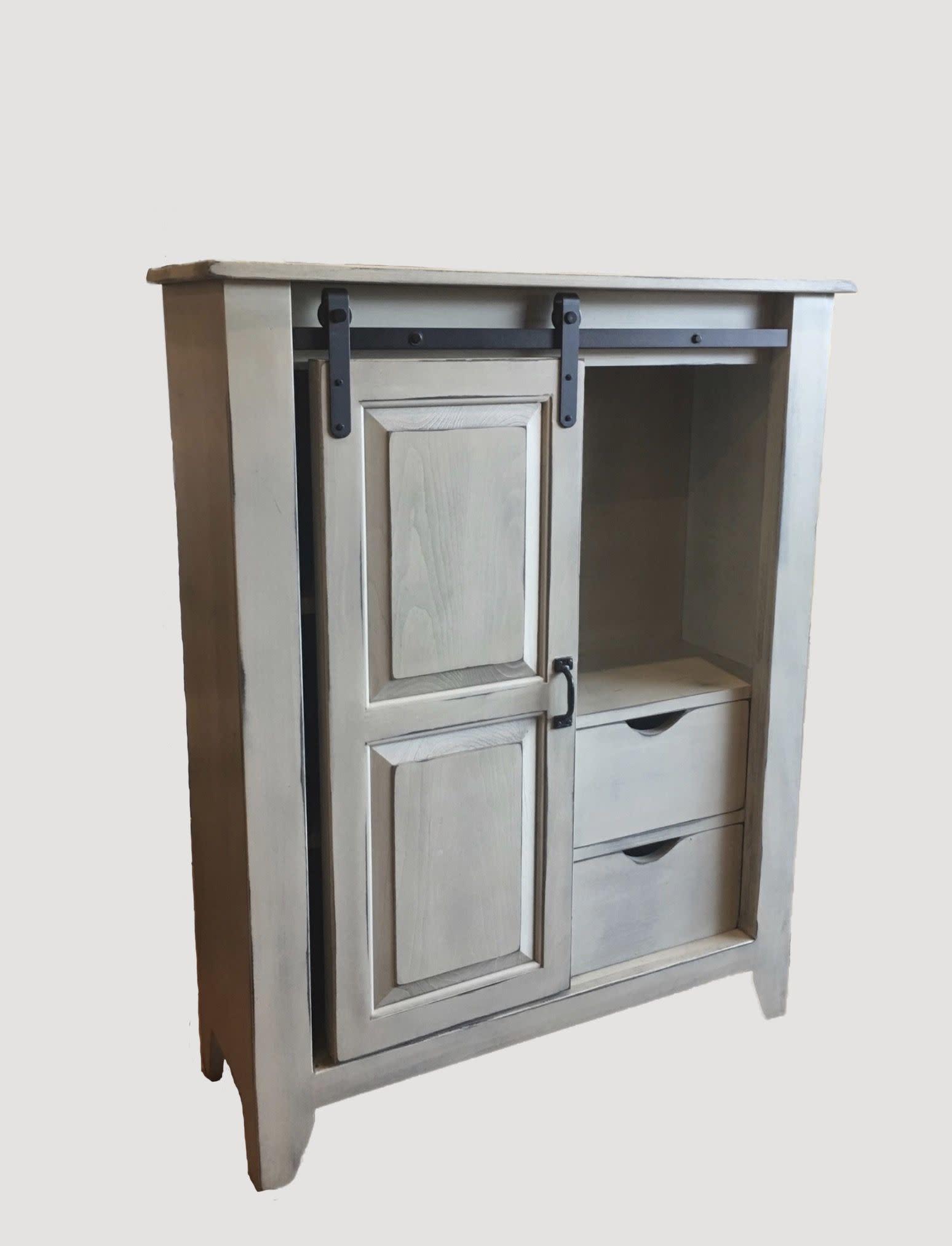 Nana's Farmhouse Buttermilk Rolling Door Cabinet