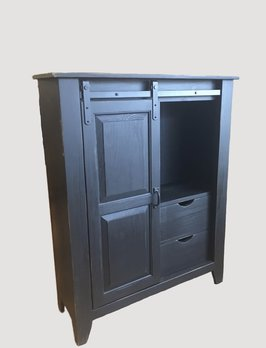 Nana's Farmhouse Black Rolling Door Cabinet