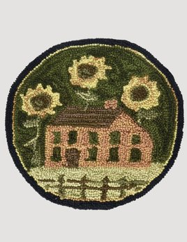Park Designs House And Sunflowers Hooked Chair Pad 14.5""