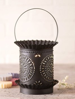Irvin's Tinware Jumbo Wax Warmer With Chisel In Kettle Black Punched Tin