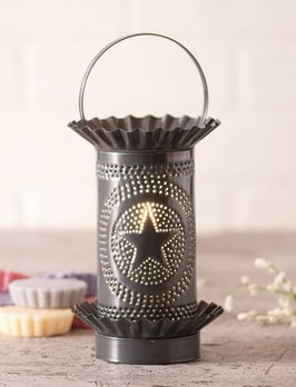 Irvin's Tinware Mini Wax Warmer with Regular Star in Country Punched Tin