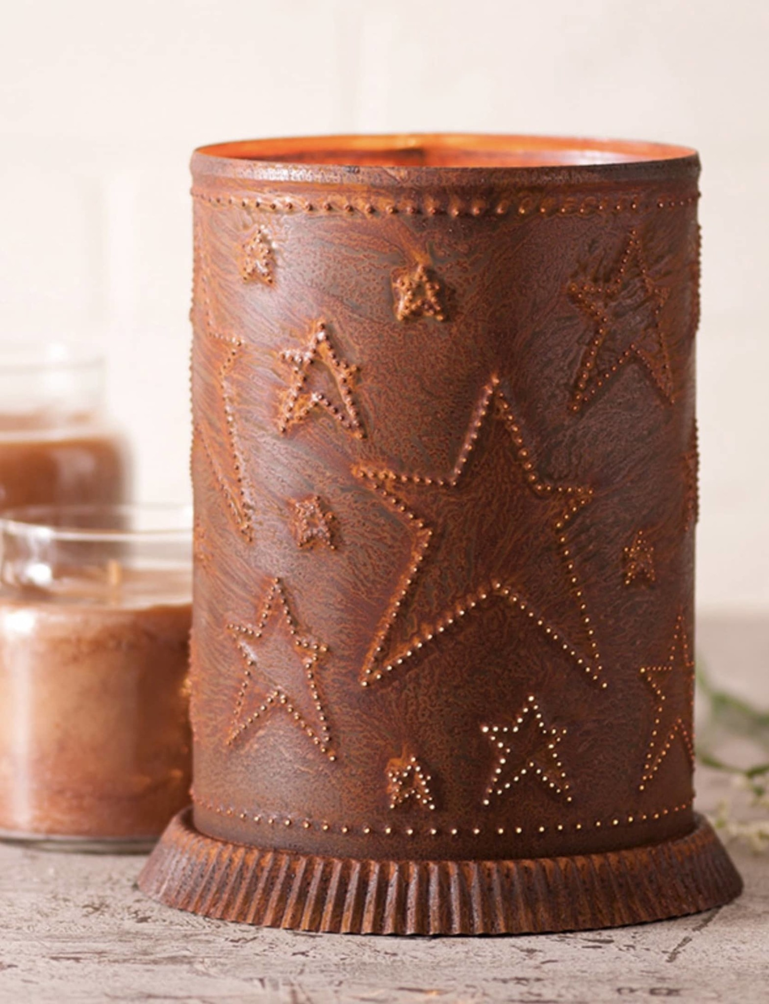 Irvin's Tinware Candle Warmer with Country Star in Rustic Tin (In Store)