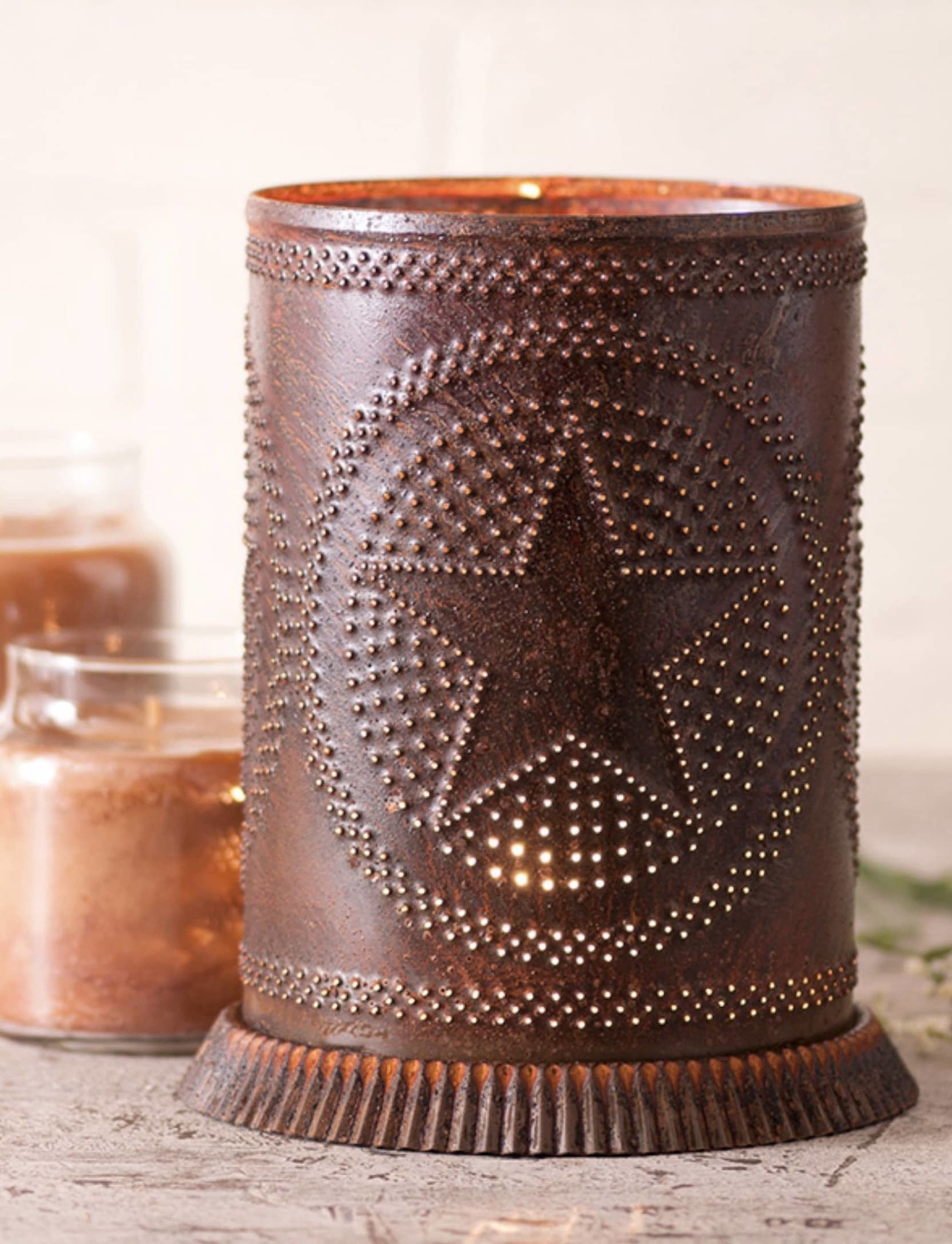 Irvin's Tinware Country Star Rustic Punched Tin Candle Warmer