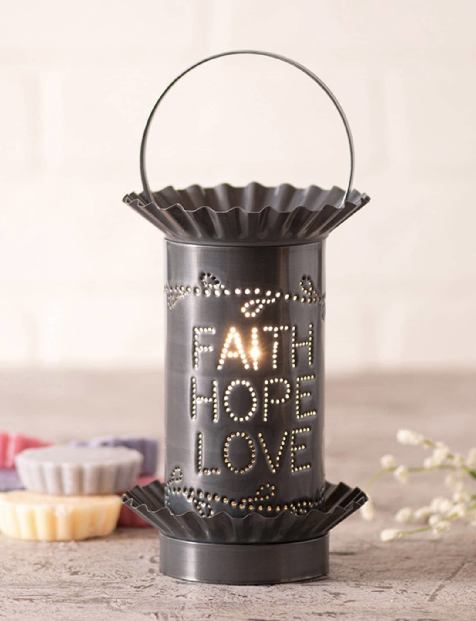 Irvin's Tinware Faith Hope Love Mini Wax Warmer in Country Punched Tin