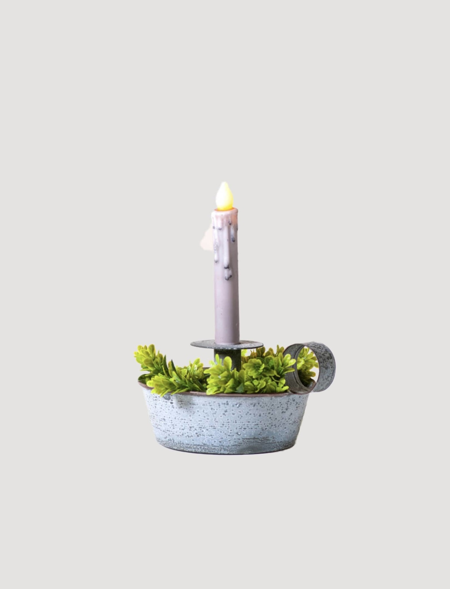 Irvin's Tinware Tapered Pan Candle Holder In Weathered Zinc