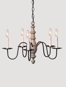 Irvin's Tinware Country Inn Wood Chandelier 6 Light