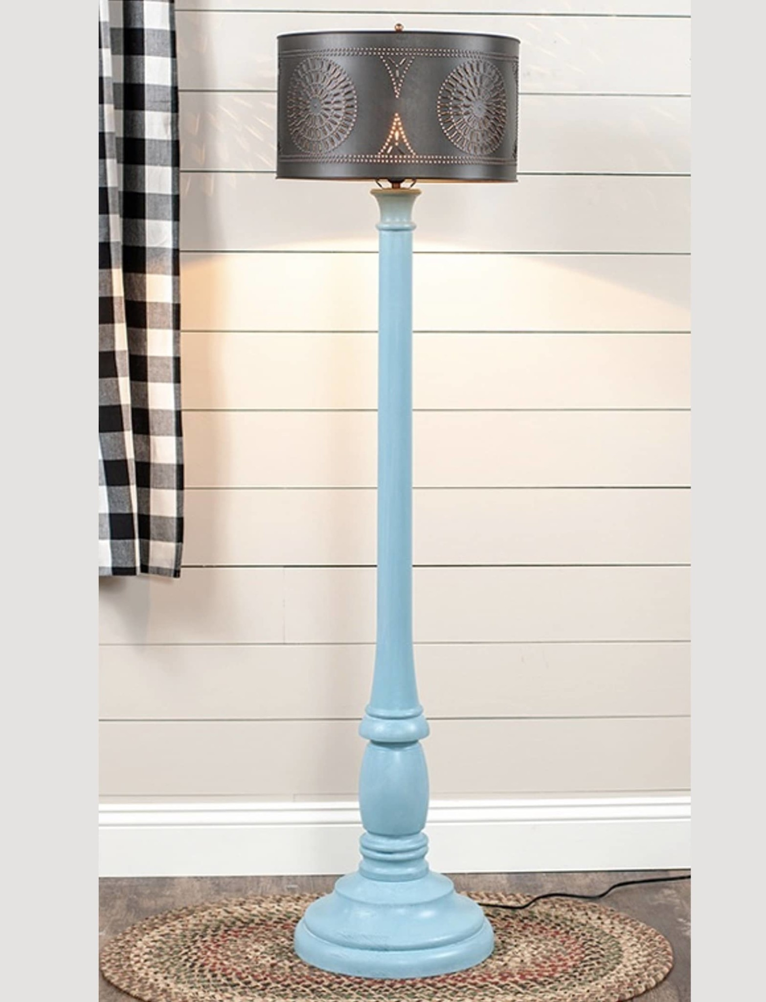 Irvin's Tinware Brinton Floor Lamp with Punched Metal Shade