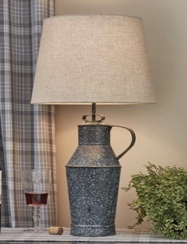 Park Designs Granite Enamelware Milk Can Lamp with Shade Gray