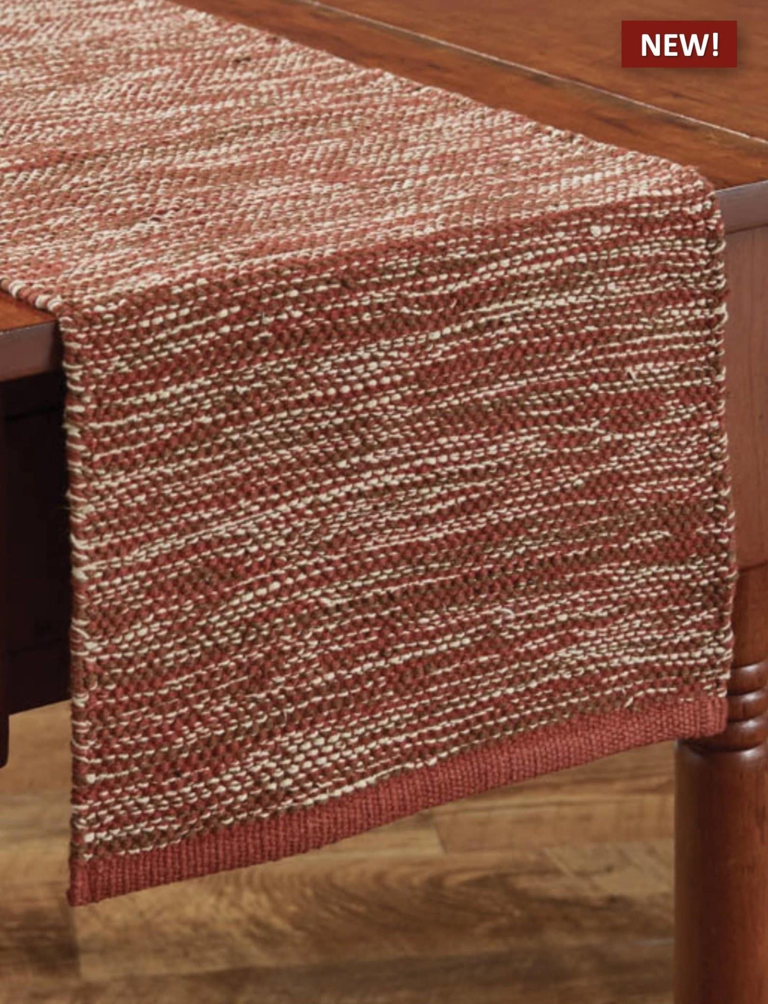 "Park Designs Ashfield Red Yarn Table Runner - 13"" x 54"""