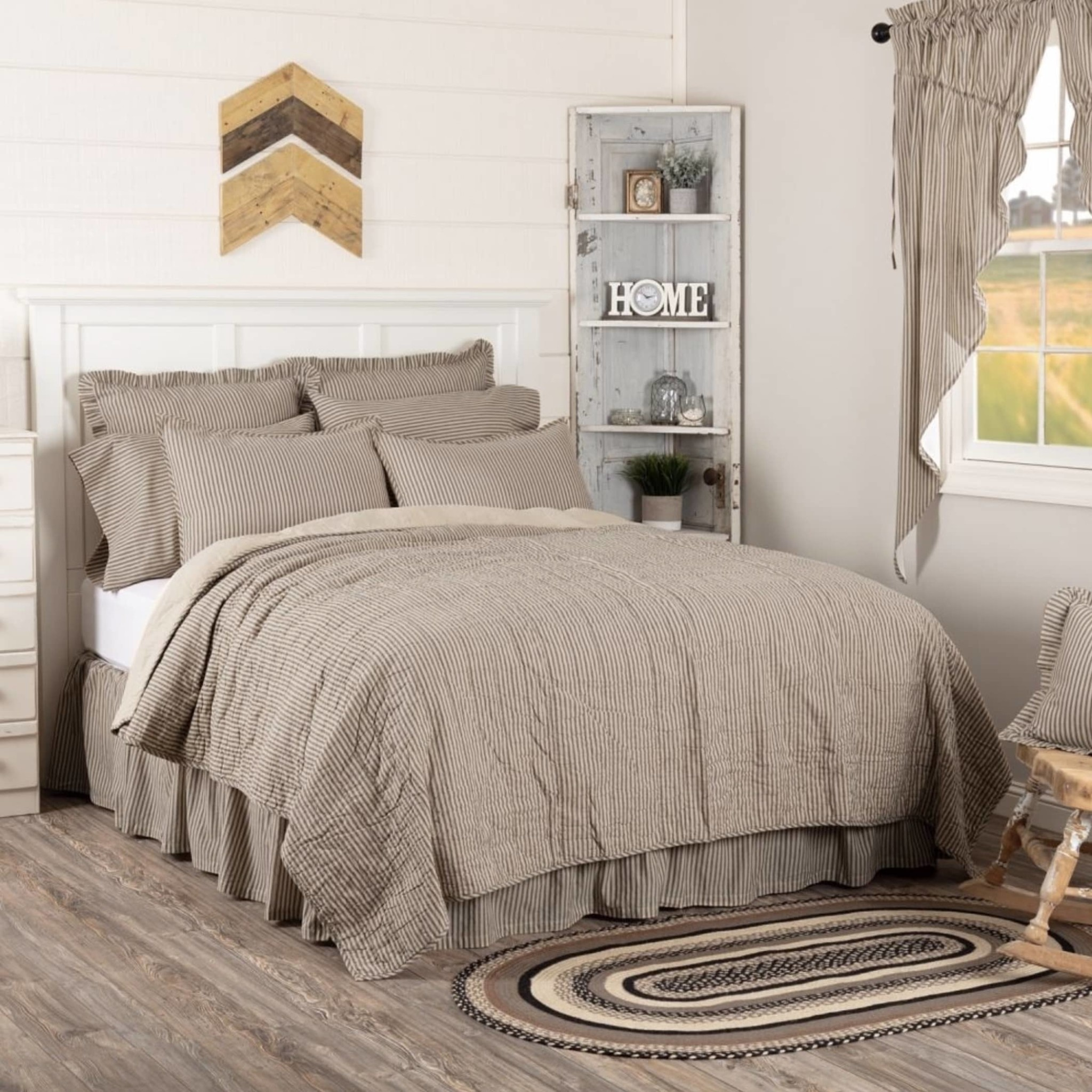 """VHC Brands Sawyer Mill Charcoal Ticking Stripe King Quilt Coverlet - 105"""" W X 95"""" L"""