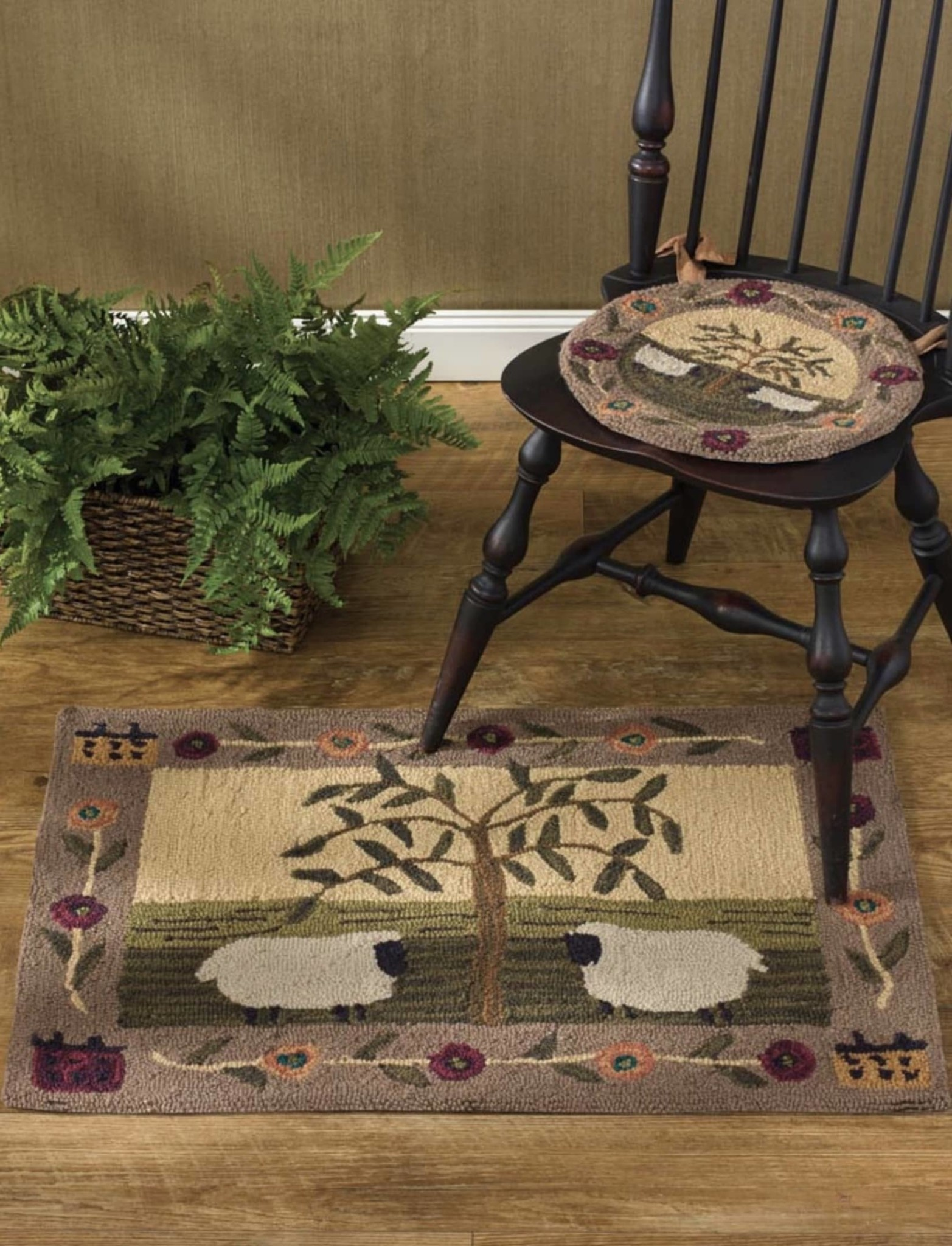 Park Designs Willow Sheep Hooked Rug - 24 x 36