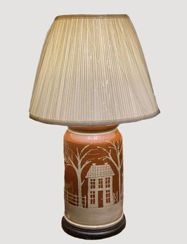 Farmhouse with Sheep Redware Pottery Lamp