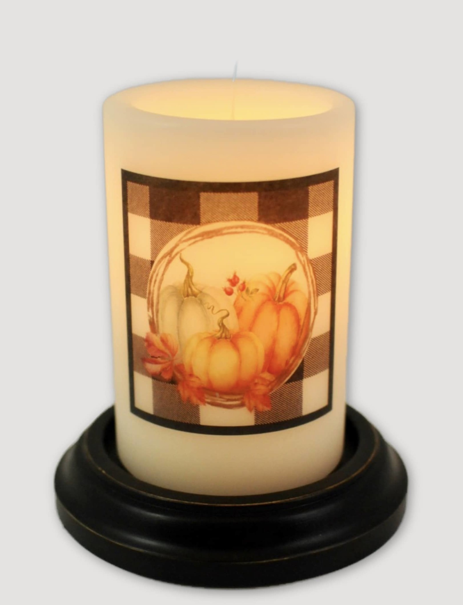 C R Designs Pumpkin Buffalo Check Candle Sleeve
