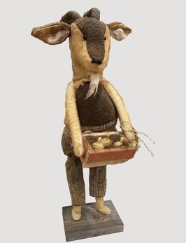 Nana's Farmhouse Primitive Goat Holding Box Of Gourds