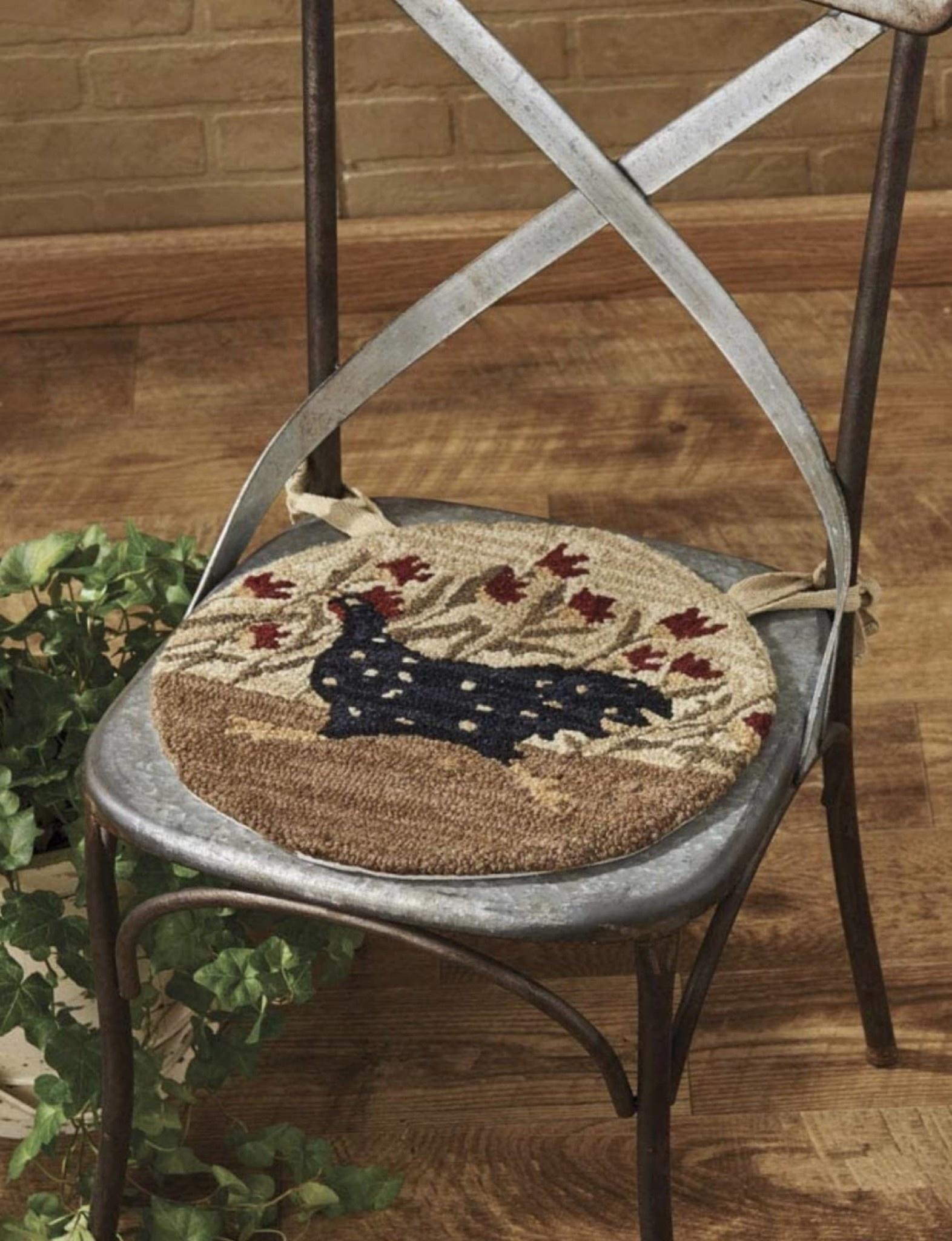"Park Designs Chicken Run Hooked Chair Pad - 14.5"""