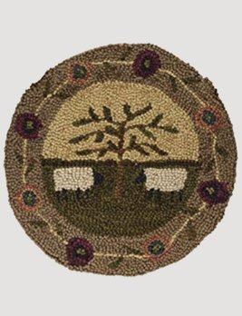 Park Designs Willow & Sheep Hooked Chair Pad 14.5""