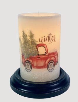 C R Designs Winter Truck Candle Sleeve