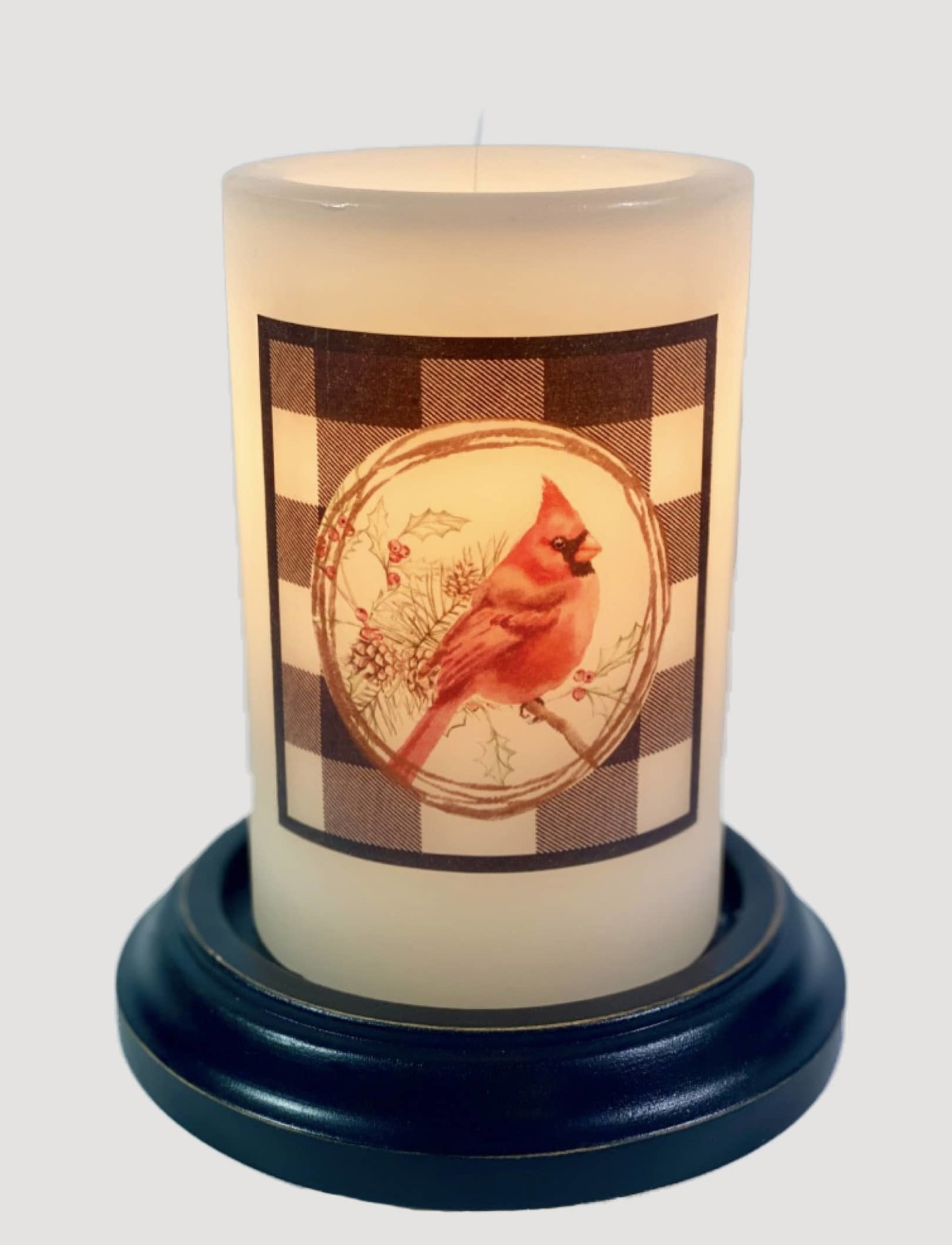 C R Designs Buffalo Cardinal Wreath Candle Sleeve