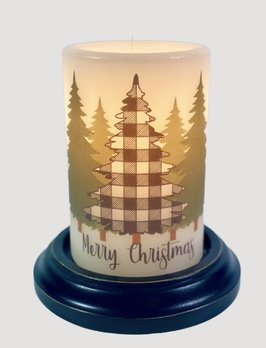 C R Designs Merry Christmas Buffalo Check Candle Sleeve