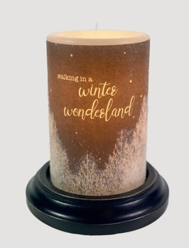 C R Designs Walking Winter Wonderland Candle Sleeve