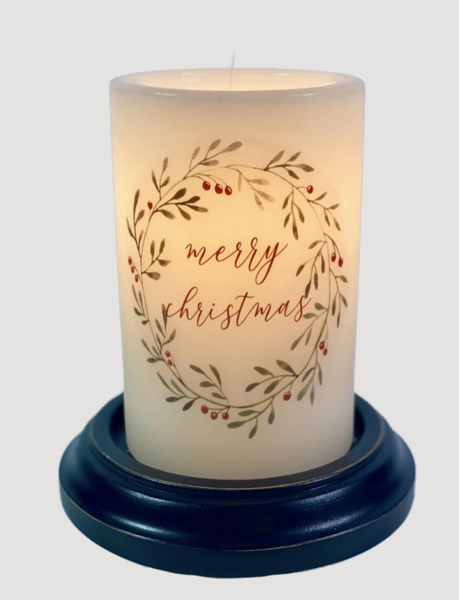 C R Designs Merry Christmas Wreath Candle Sleeve