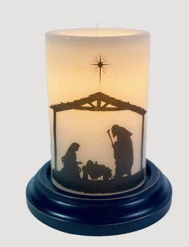 C R Designs Vintage Vanilla Nativity Jesus Candle Sleeve