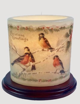 C R Designs Christmas Birds Candle Sleeve - Oval