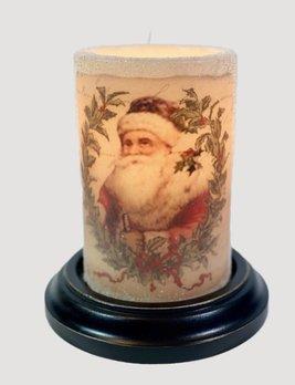 C R Designs Vintage Santa Wreath Candle Sleeve