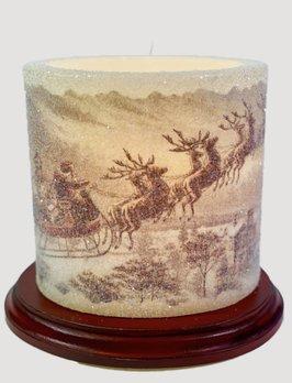C R Designs Vintage Santa Sleigh Candle Sleeve - Oval