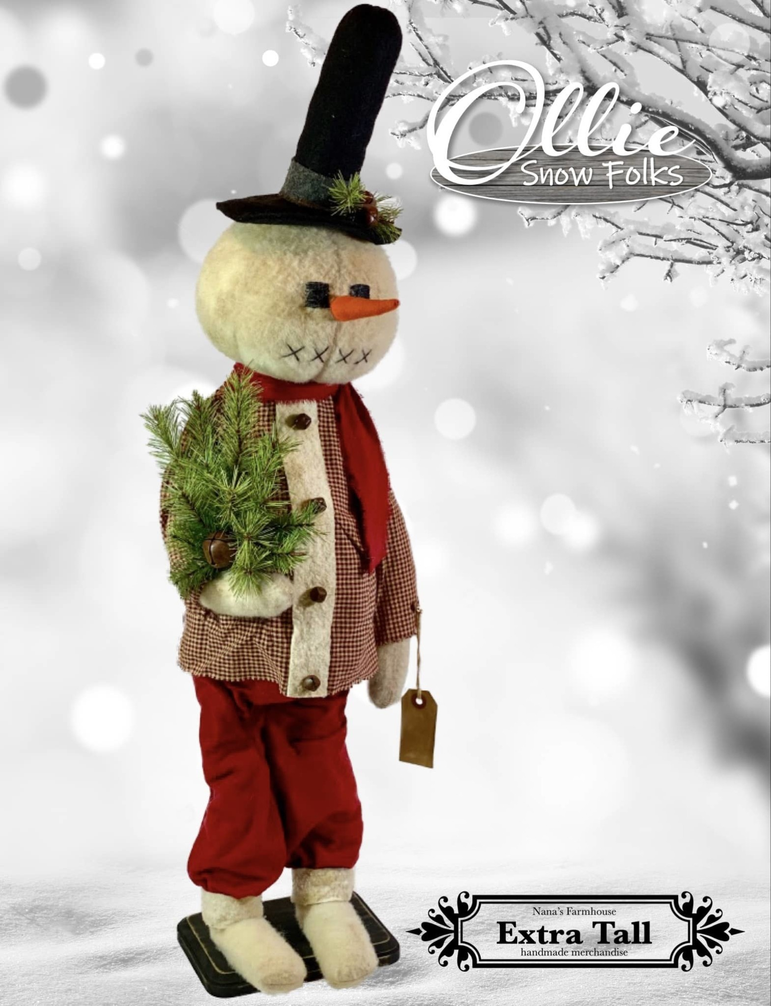 Nana's Farmhouse Ollie The Snow Boy Red Pants & Black Top Hat Holding Greens