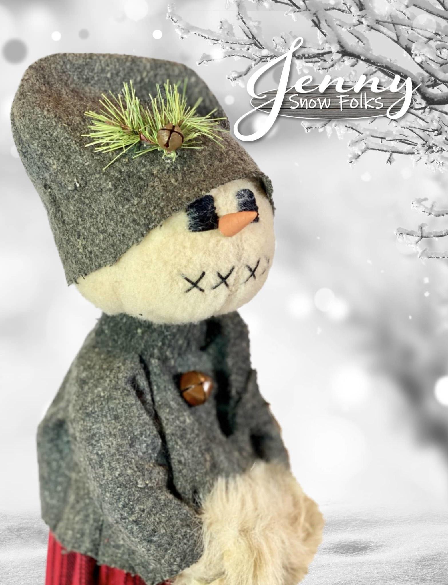 Nana's Farmhouse Jenny Snow Girl Grey Sweater Holding Hand Muffs