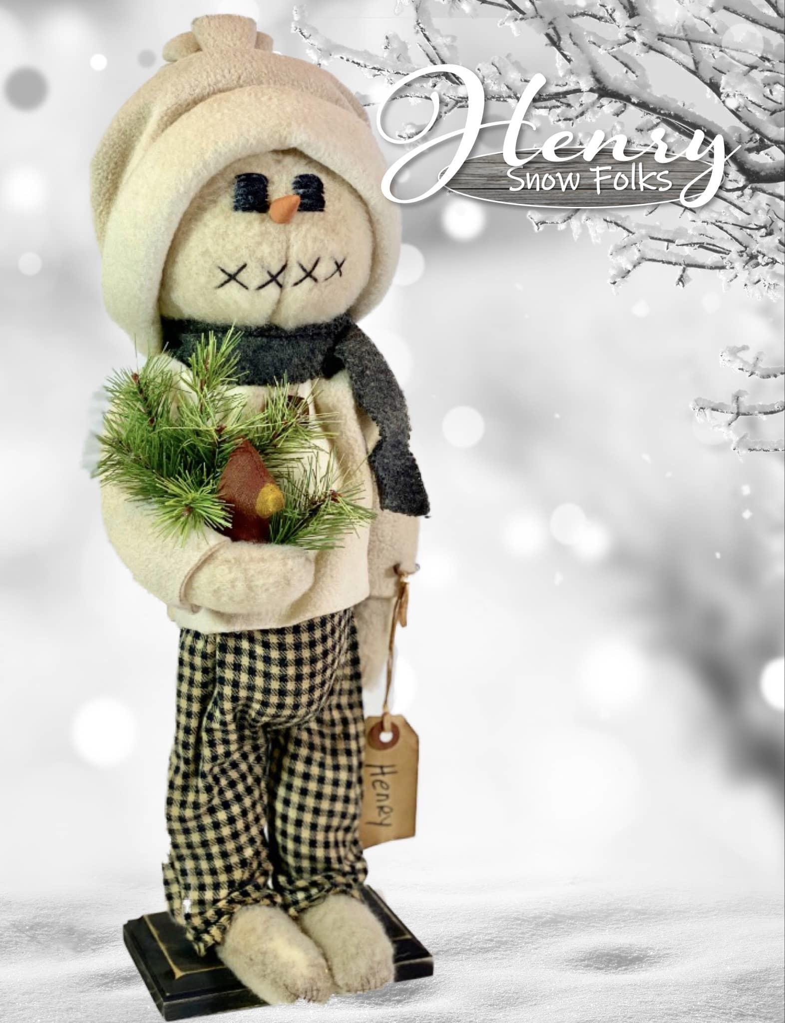 Nana's Farmhouse Henry The Snow Boy Plaid Pants Holding Cardinal & Greens