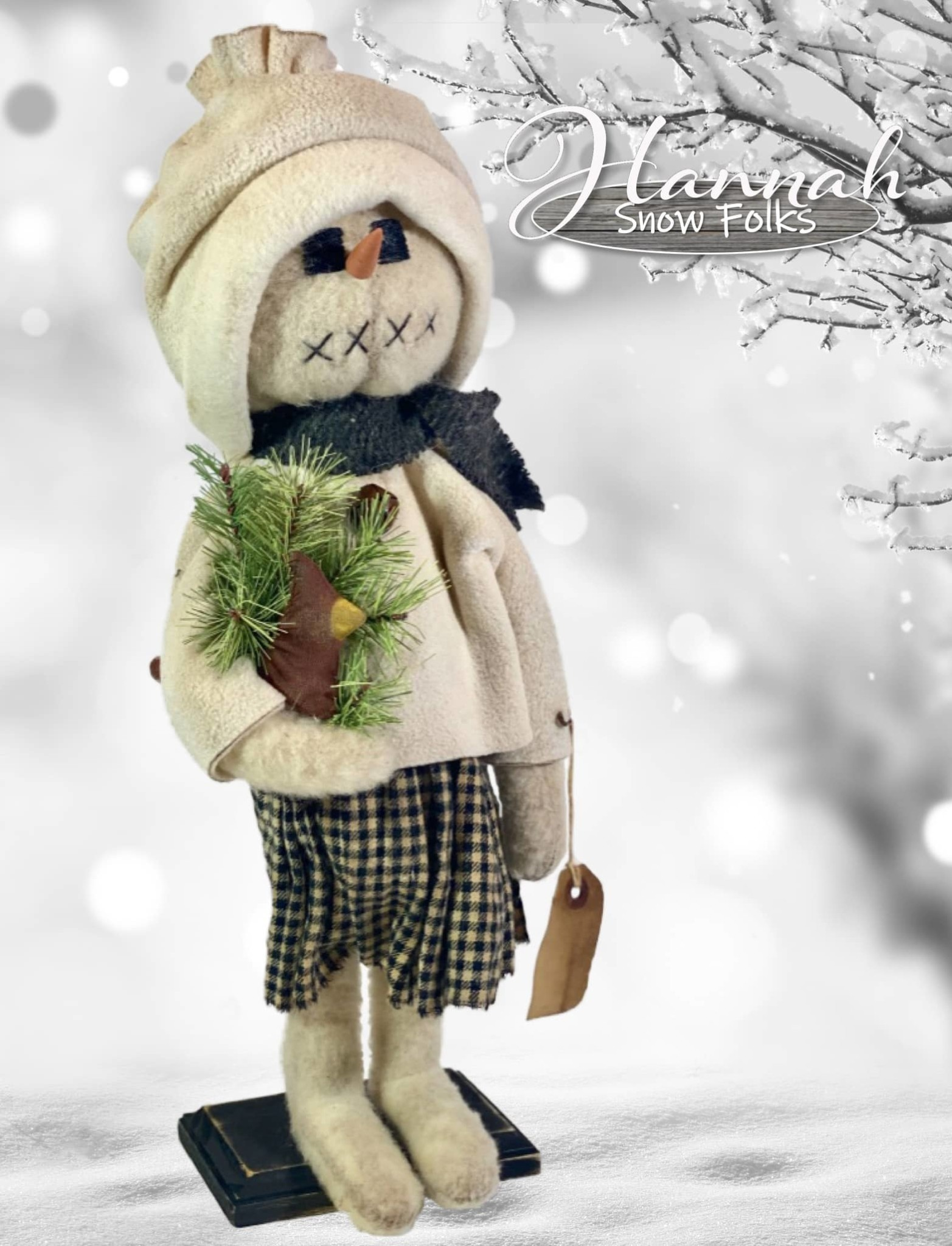 Nana's Farmhouse Hannah The Snow Girl Wearing Black Plaid Dress Holding Cardinal & Greens