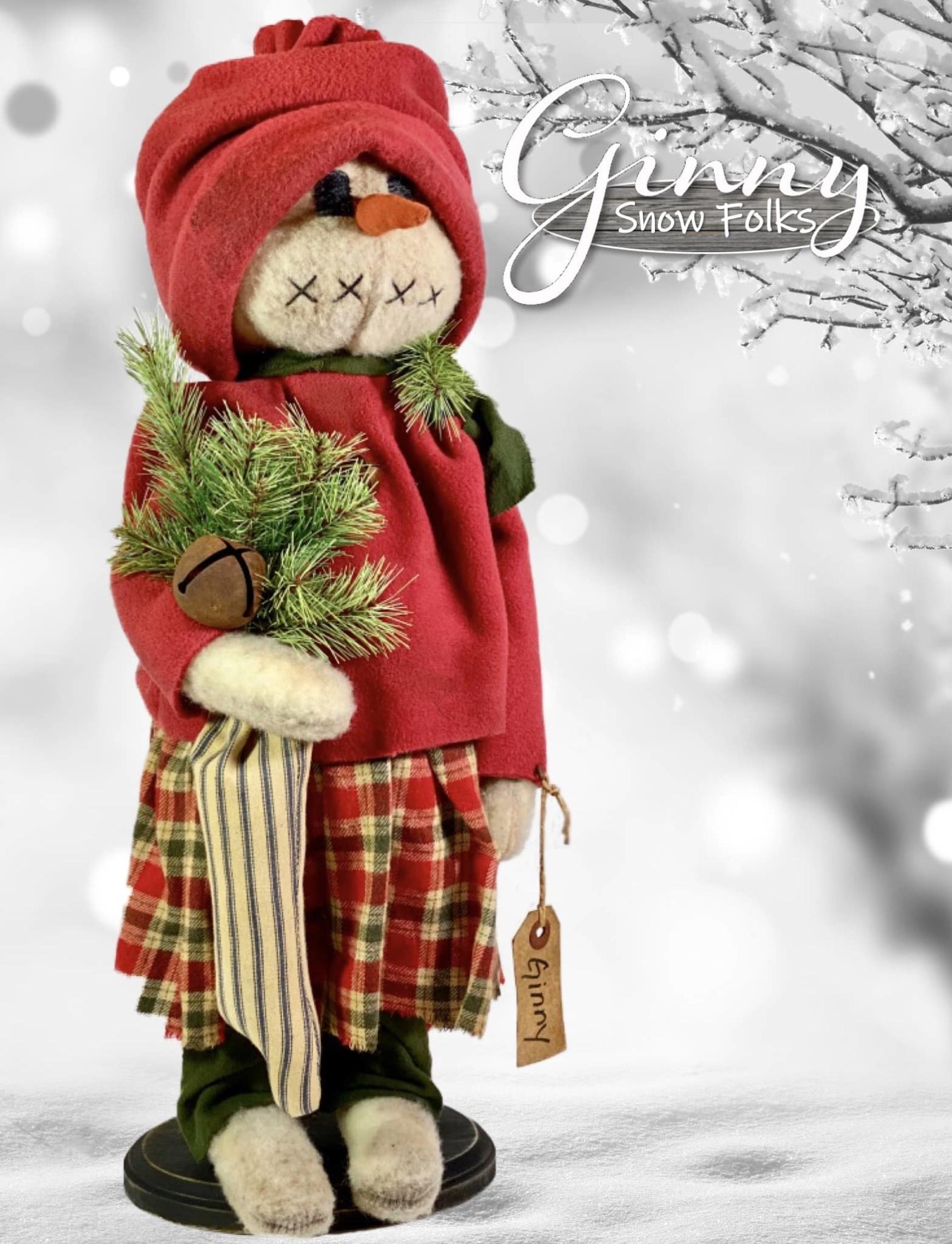 Nana's Farmhouse Ginny Snow Girl Holding Ticking Stripe Stocking with Bell