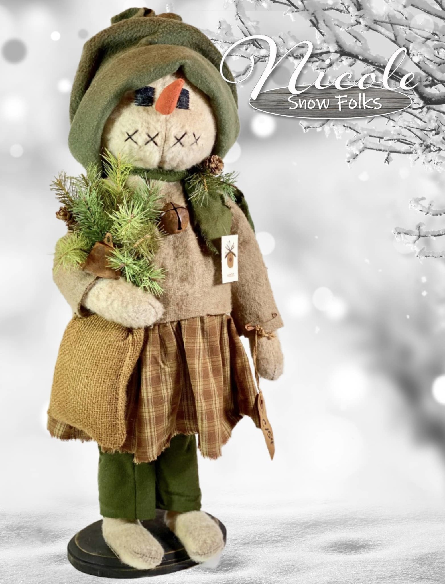 Nana's Farmhouse Nicole Snow Girl Tan Sweater Holding Burlap Sack with Greens & Bell