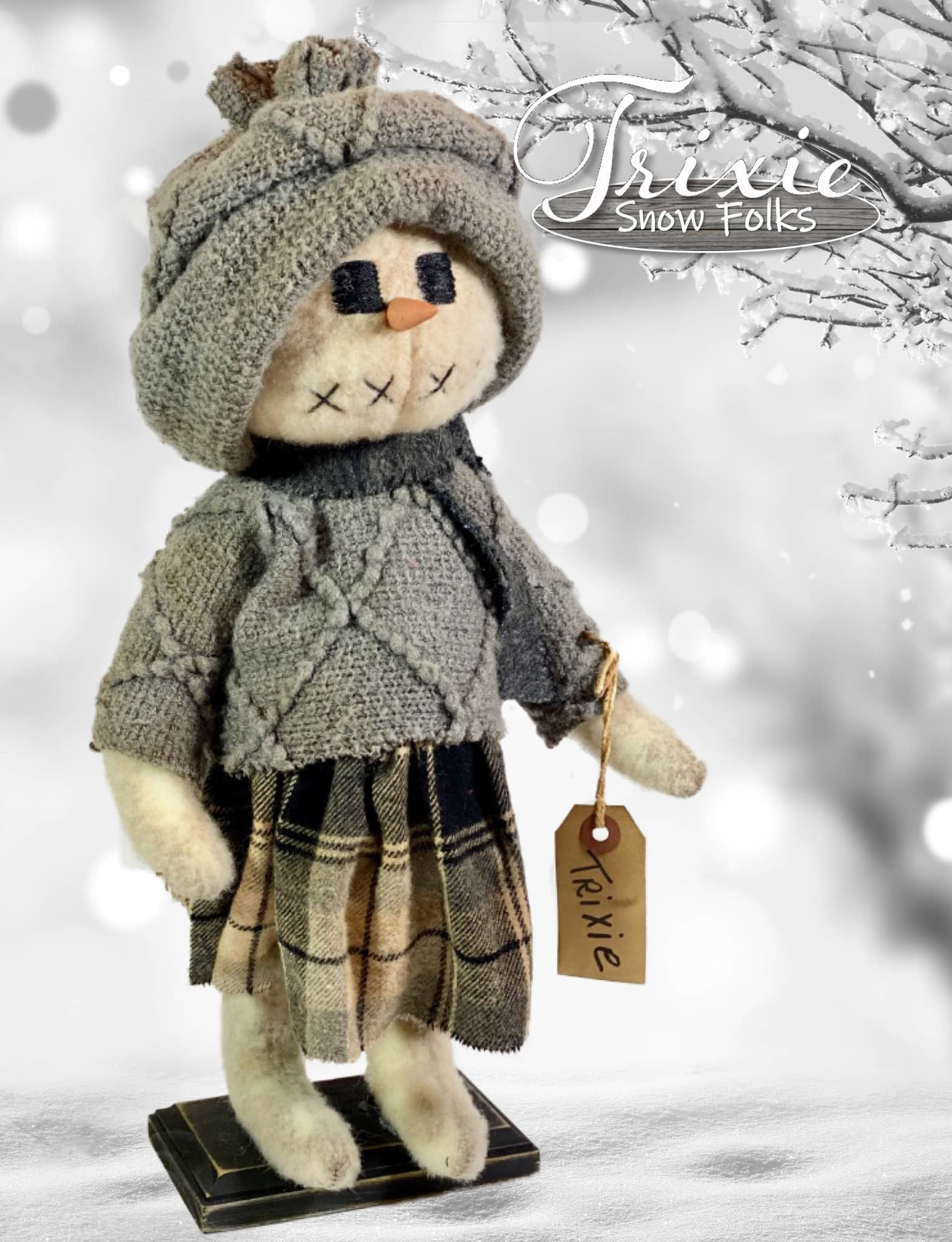 Nana's Farmhouse Trixie Snow Girl Grey Sweater & Plaid Skirt