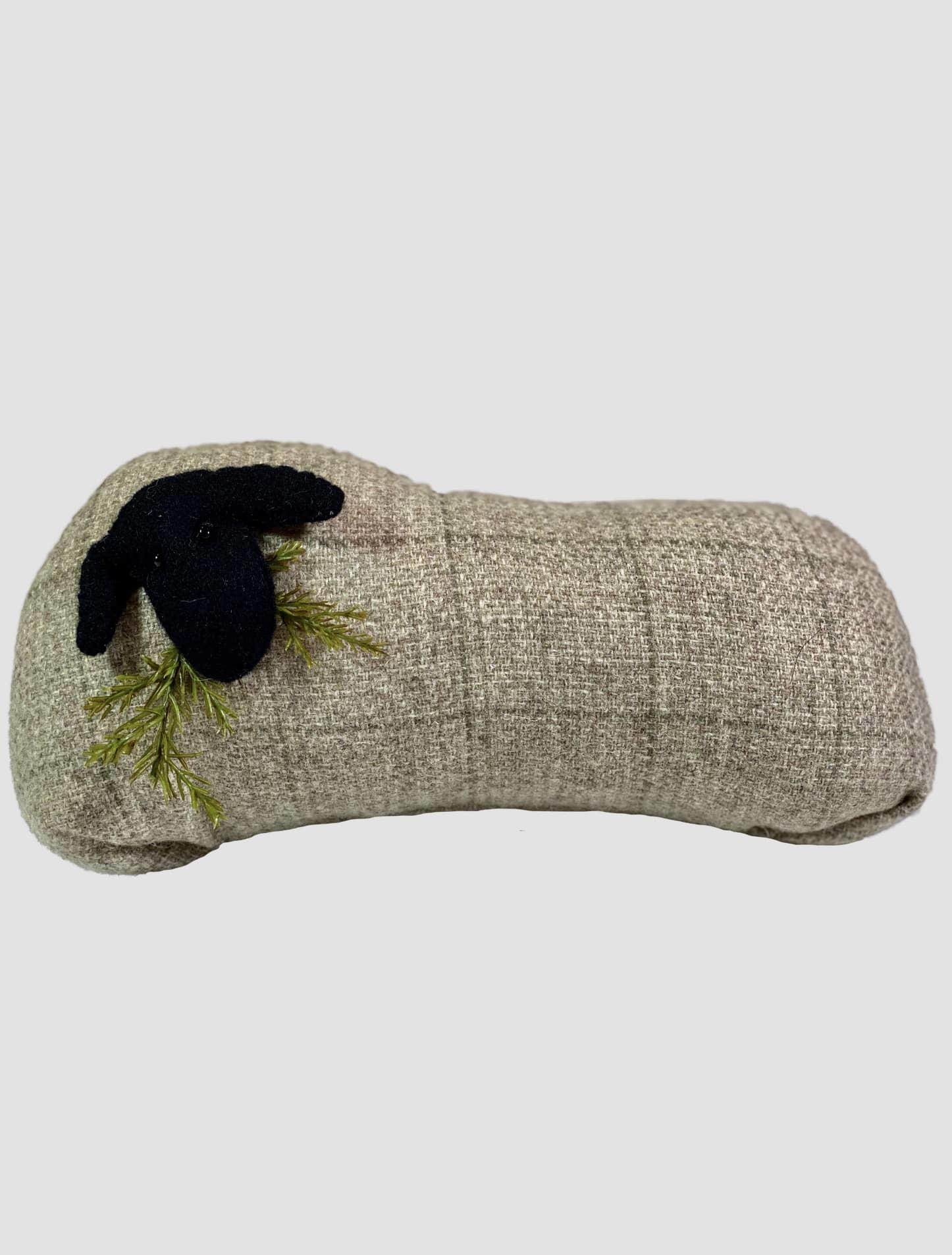 Nana's Farmhouse Ewe Long Pillow Grey Plaid