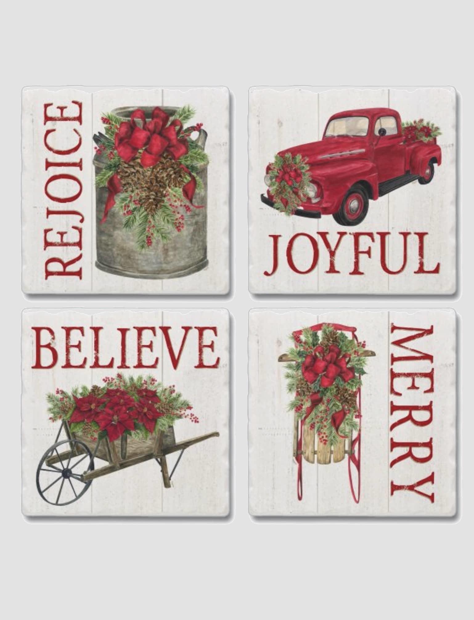 Conimar Art Tumbled Tile Coaster Set Asstd - Home for the Holidays