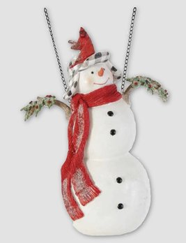 K & K Interiors Glittered Snowman with 4 Cardinals Arrow Replacement