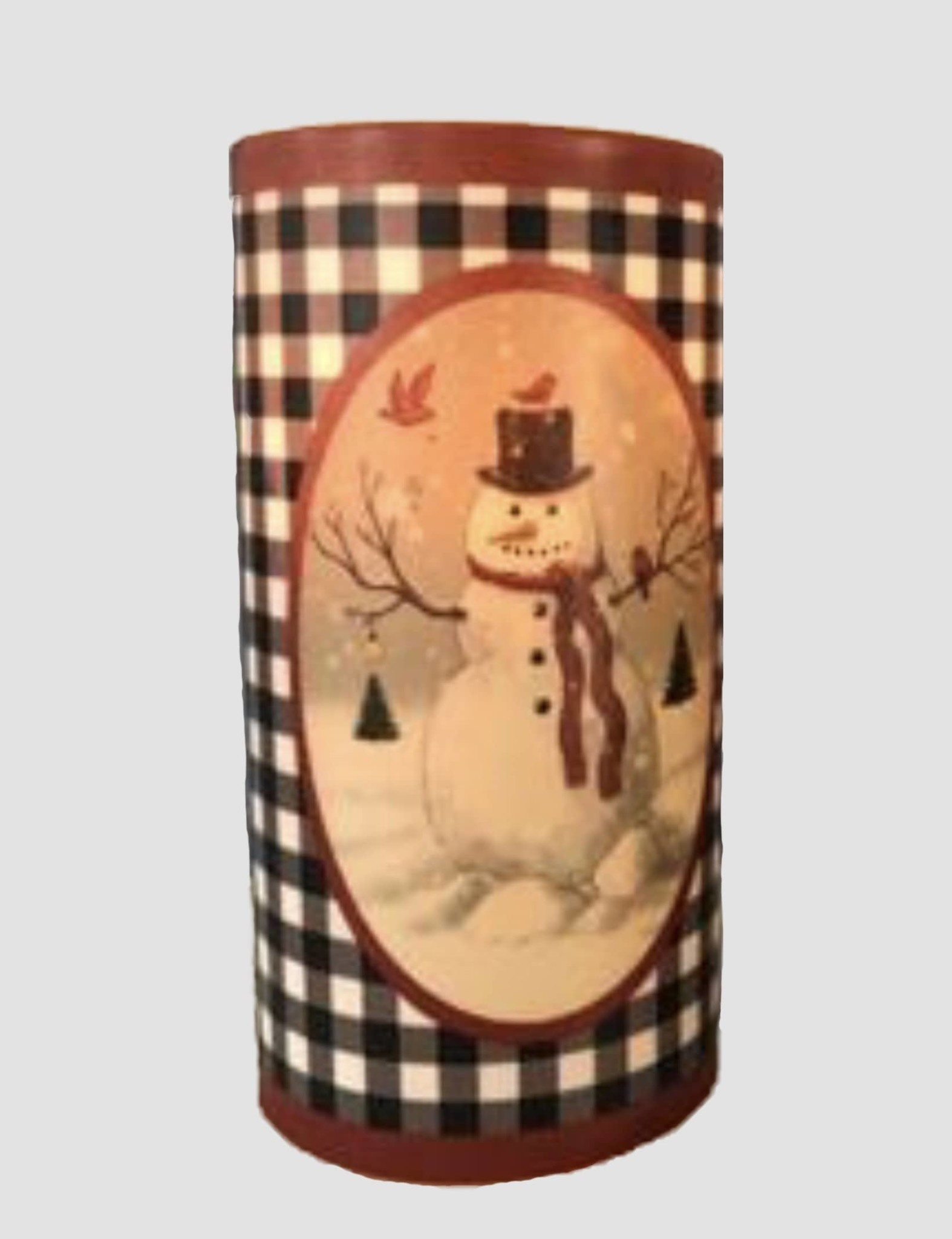 Nana's Farmhouse Buffalo Check Snowman Pillar Candle with Cardinals - 6""