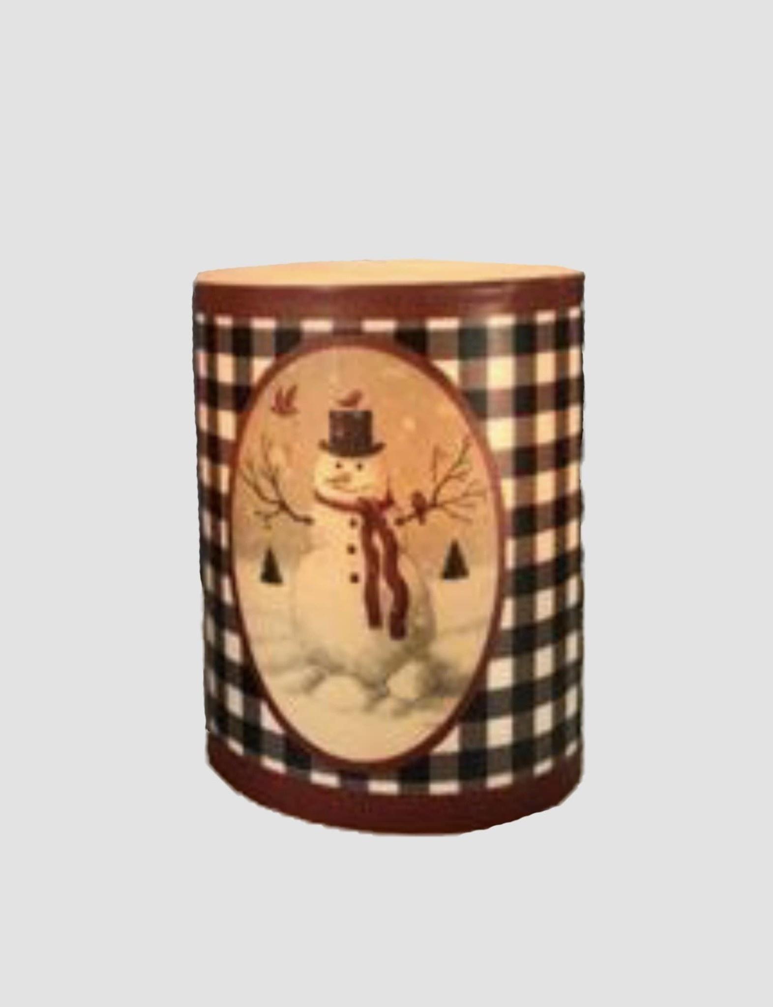 """Nana's Farmhouse Buffalo Check Snowman Pillar Candle with Cardinals - 4"""""""