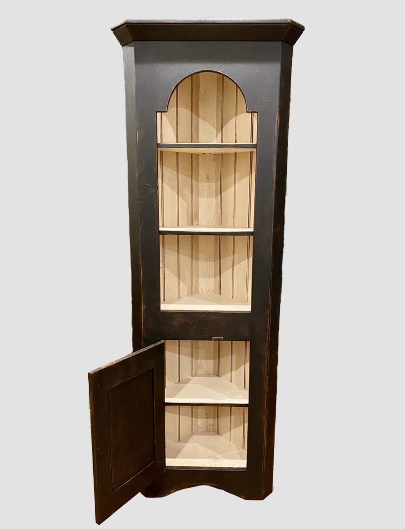 "K H Custom Woodworking Tombstone Corner Cabinet in Black over Pumpkin - 77"" T"