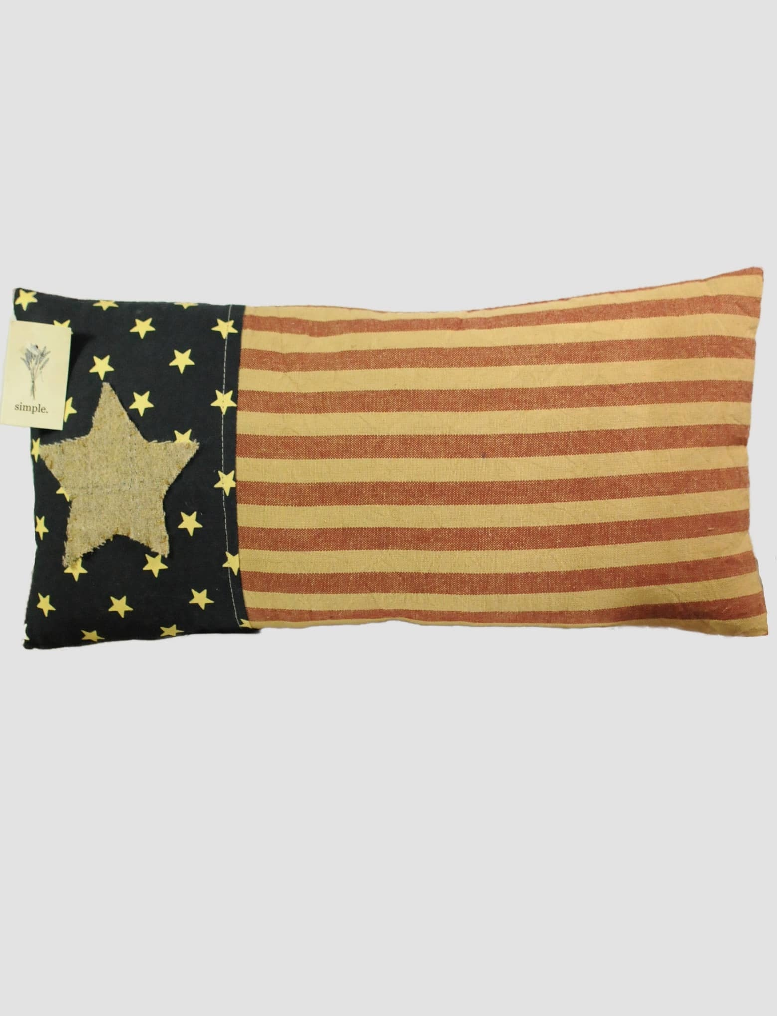 "Nana's Farmhouse Americana Star Striped Pillow 7x16"""