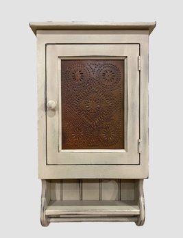Nana's Farmhouse Buttermilk Wall Cabinet Rusty Tin