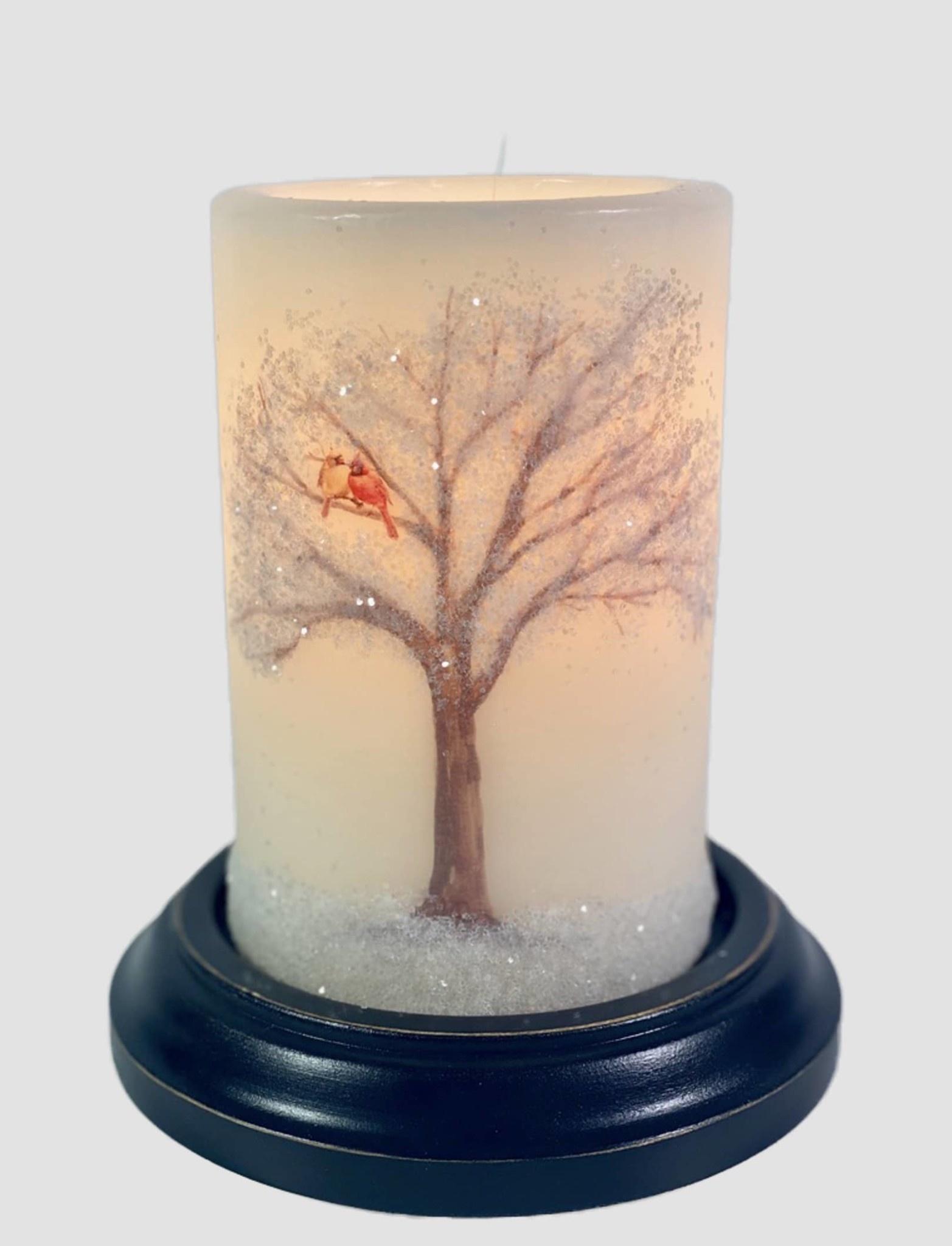 C R Designs Cardinal Pair Tree Candle Sleeve