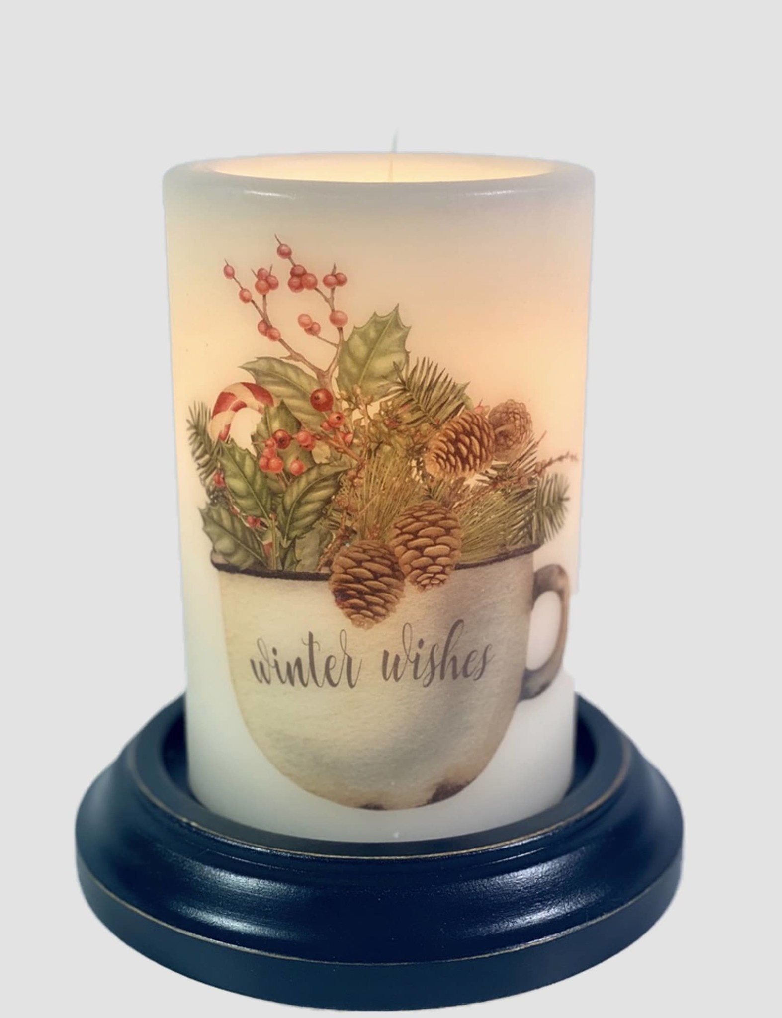 C R Designs Rusty Cup Winter Wishes Candle Sleeve