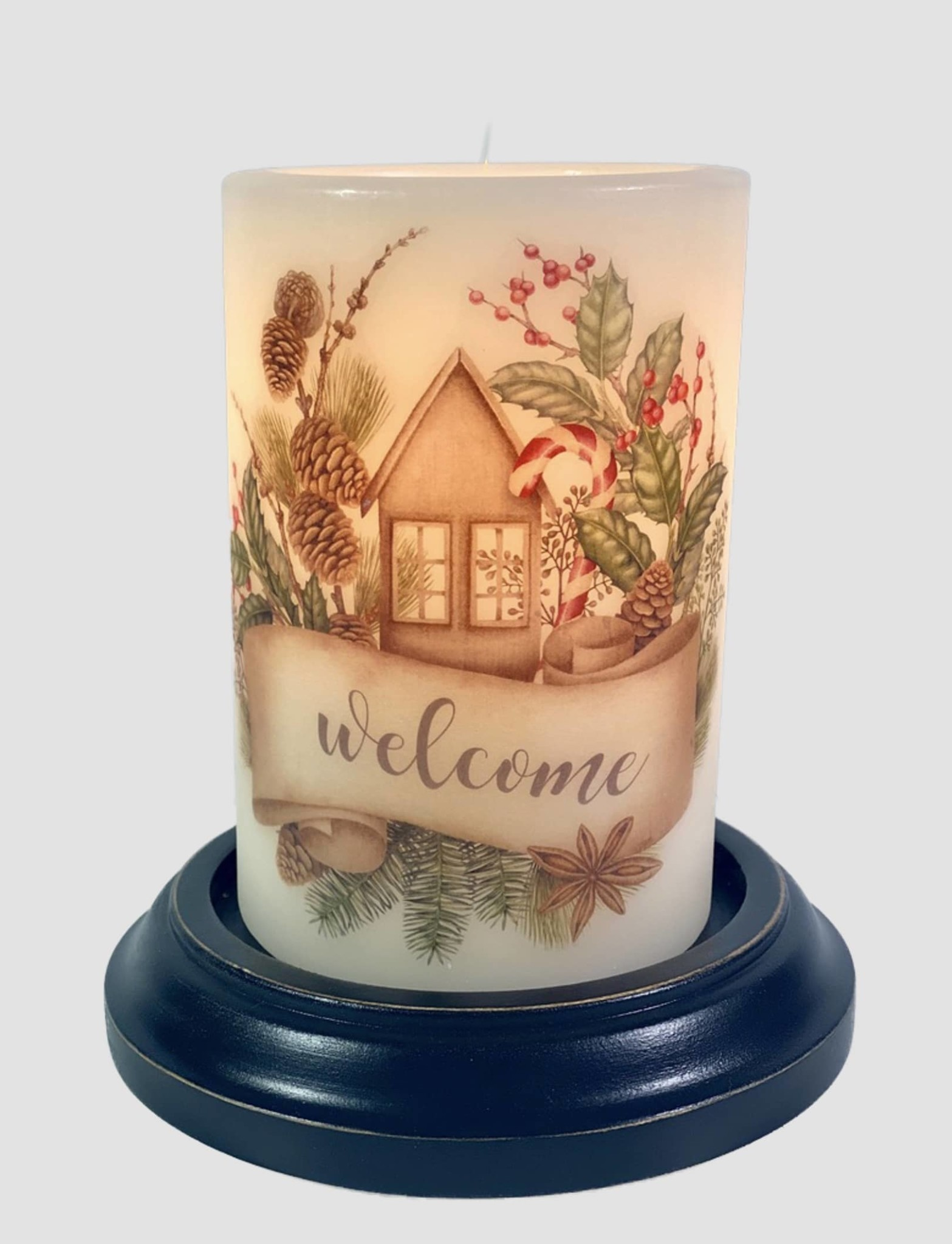 C R Designs Holiday Welcome Candle Sleeve
